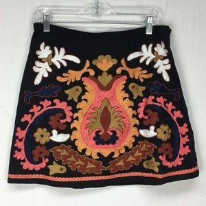 H&M Black Botanical Embroidered Mini Skirt